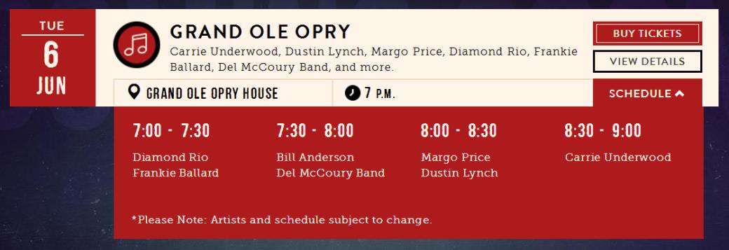 Opry first show Jun 6, 17
