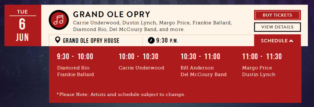 Opry second show Jun 6, 17